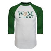 White/Dark Green Raglan Baseball T-Shirt-W&M Alumni
