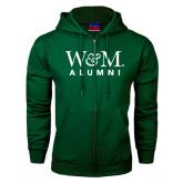 Dark Green Fleece Full Zip Hoodie-W&M Alumni