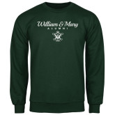Dark Green Fleece Crew-William & Mary Script Alumni