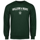 Dark Green Fleece Crew-Arched Collegiate William & Mary Alumni