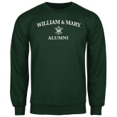 Dark Green Fleece Crew-Arched Academic William & Mary Alumni