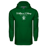 Under Armour Dark Green Performance Sweats Team Hoodie-William & Mary Script Alumni