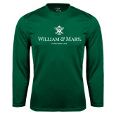 Performance Dark Green Longsleeve Shirt-Chartered Logo