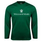 Performance Dark Green Longsleeve Shirt-William and Mary