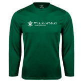 Performance Dark Green Longsleeve Shirt-Alumni Association Flat