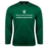 Performance Dark Green Longsleeve Shirt-Alumni Association Stacked