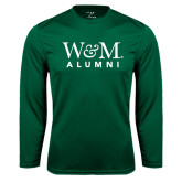 Performance Dark Green Longsleeve Shirt-W&M Alumni