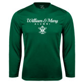 Performance Dark Green Longsleeve Shirt-William & Mary Script Alumni