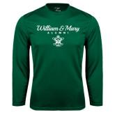 Syntrel Performance Dark Green Longsleeve Shirt-William & Mary Script Alumni