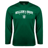 Performance Dark Green Longsleeve Shirt-Arched Collegiate William & Mary Alumni