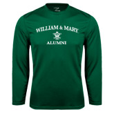 Performance Dark Green Longsleeve Shirt-Arched Academic William & Mary Alumni
