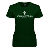 Ladies Dark Green T Shirt-Chartered Logo