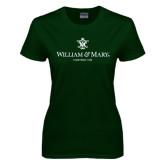 Ladies Dark Green T Shirt-Chartered Logo