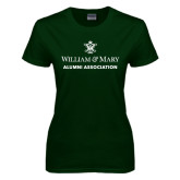 Ladies Dark Green T Shirt-Alumni Association Stacked