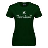 Ladies Dark Green T Shirt-Alumni Association Stacked
