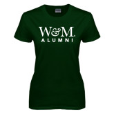 Ladies Dark Green T Shirt-W&M Alumni