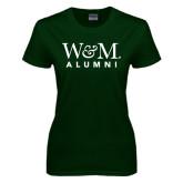 Ladies Dark Green T Shirt-W&M Alumni