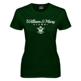 Ladies Dark Green T Shirt-William & Mary Script Alumni