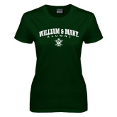 Ladies Dark Green T Shirt-Arched Collegiate William & Mary Alumni