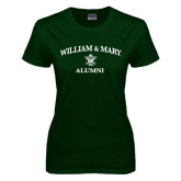 Ladies Dark Green T Shirt-Arched Academic William & Mary Alumni