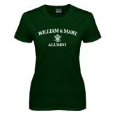 Ladies Dark Green T Shirt-Arched Academic William & Mary Alumni
