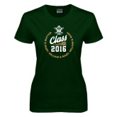 Ladies Dark Green T Shirt-Class Of Circle Text