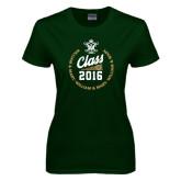 Ladies Dark Green T Shirt-Class Of Circle Text