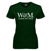 Ladies Dark Green T Shirt-W&M Class Of