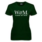Ladies Dark Green T Shirt-W&M Class Of