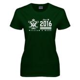 Ladies Dark Green T Shirt-William & Mary Class Of Stacked