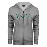 ENZA Ladies Grey Fleece Full Zip Hoodie-W&M