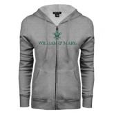 ENZA Ladies Grey Fleece Full Zip Hoodie-William and Mary