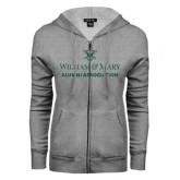 ENZA Ladies Grey Fleece Full Zip Hoodie-Alumni Association Stacked