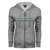 ENZA Ladies Grey Fleece Full Zip Hoodie-Alumni Association Stacked