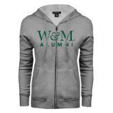 ENZA Ladies Grey Fleece Full Zip Hoodie-W&M Alumni