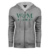 ENZA Ladies Grey Fleece Full Zip Hoodie-W&M Alumni