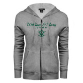 ENZA Ladies Grey Fleece Full Zip Hoodie-William & Mary Script Alumni