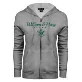 ENZA Ladies Grey Fleece Full Zip Hoodie-William & Mary Script Alumni