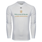 Under Armour White Long Sleeve Tech Tee-Alumni Association Stacked