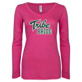 ENZA Ladies Hot Pink Long Sleeve V Neck Tee-Tribe Bride