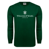 Dark Green Long Sleeve T Shirt-Chartered Logo