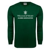 Dark Green Long Sleeve T Shirt-Alumni Association Stacked