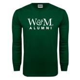 Dark Green Long Sleeve T Shirt-W&M Alumni