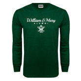 Dark Green Long Sleeve T Shirt-William & Mary Script Alumni