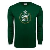 Dark Green Long Sleeve T Shirt-Class Of Circle Text