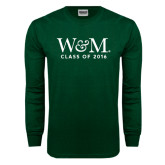 Dark Green Long Sleeve T Shirt-W&M Class Of