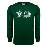 Dark Green Long Sleeve T Shirt-William & Mary Class Of Stacked