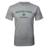 Grey T Shirt-Arched Academic William & Mary Alumni