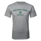 Grey T Shirt-Arched Academic William & Mary Alumni