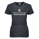 Ladies Dark Heather T Shirt-Alumni Association Stacked